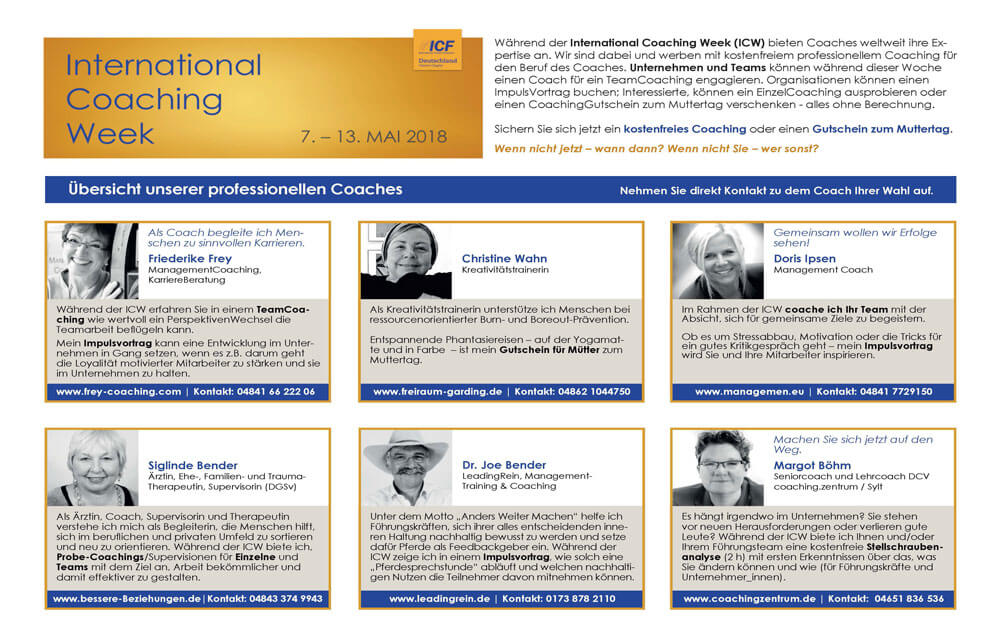 International Coaching Week vom 7. bis 13. Mai 2018